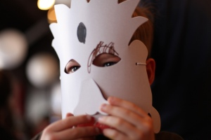 Person wearing paper mask
