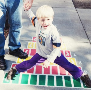 That's my son playing on a Sidewalk Math pattern!